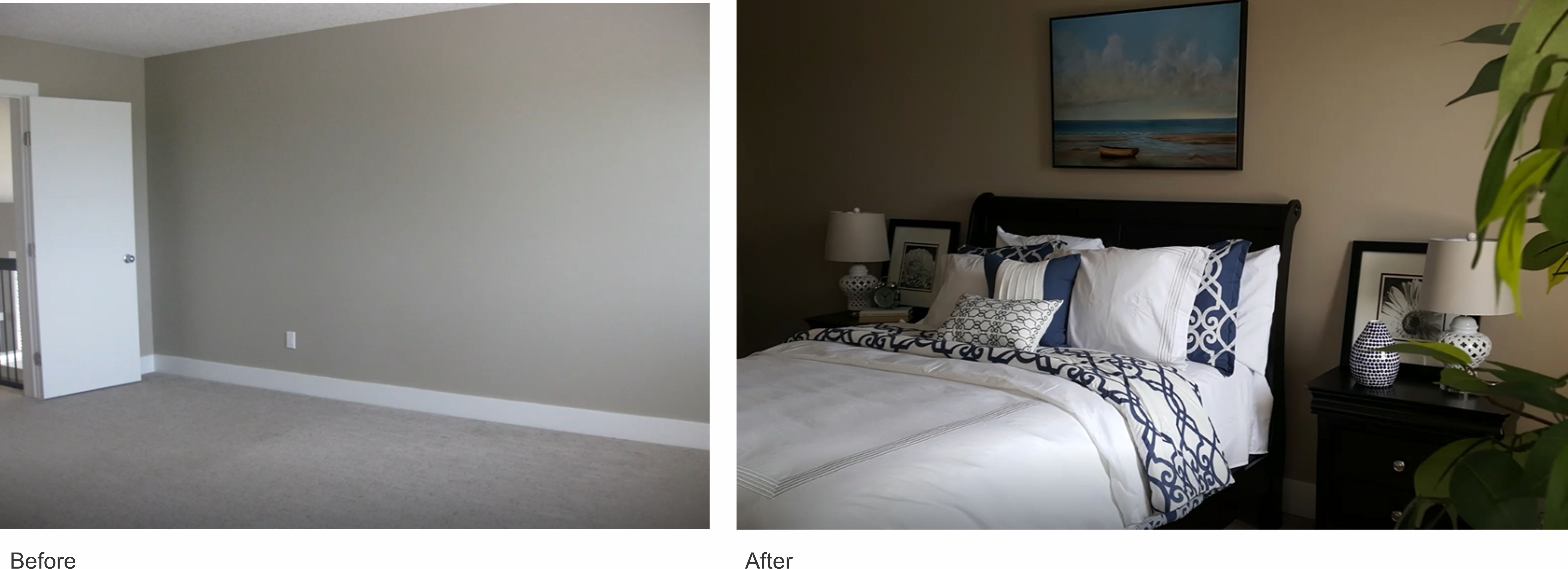 before and after staging - vacant property